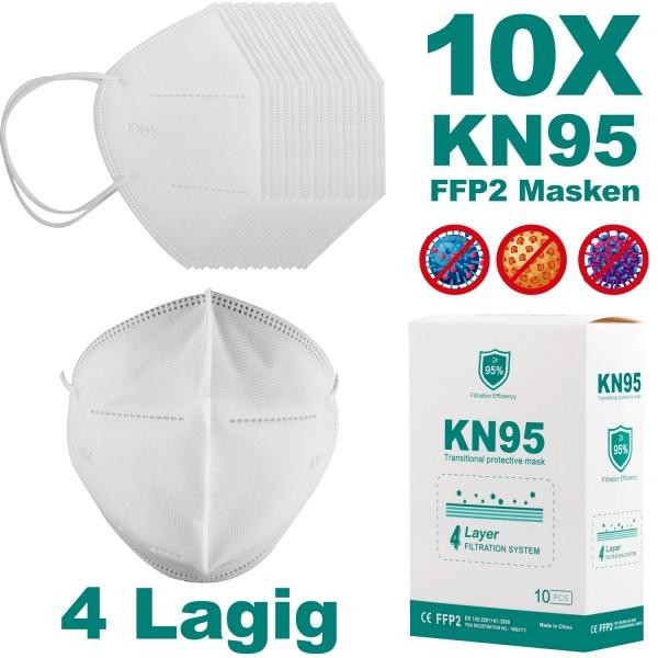 10x Atemschutzmaske FFP2 Mundschutz Maske KN95 98% Filterung Feinstaubmaske
